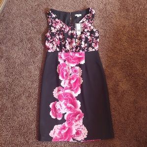 NWT new York&co black & pink floral midi dress